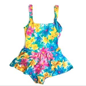 Vintage Floral One Piece Skirted Swim Suit Size 14